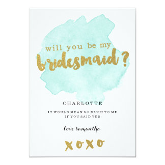 Gold and Teal Blush Will You Be My Bridesmaid? Invitation