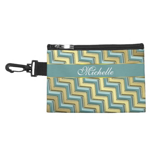 Gold and Teal Chevron Pattern Accessories Bag