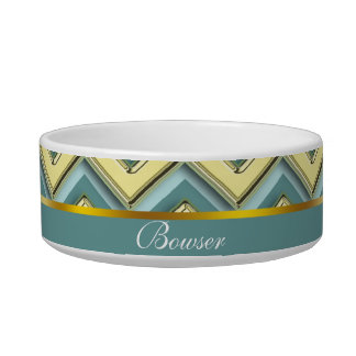 Gold and Teal Chevron Pattern Bowl