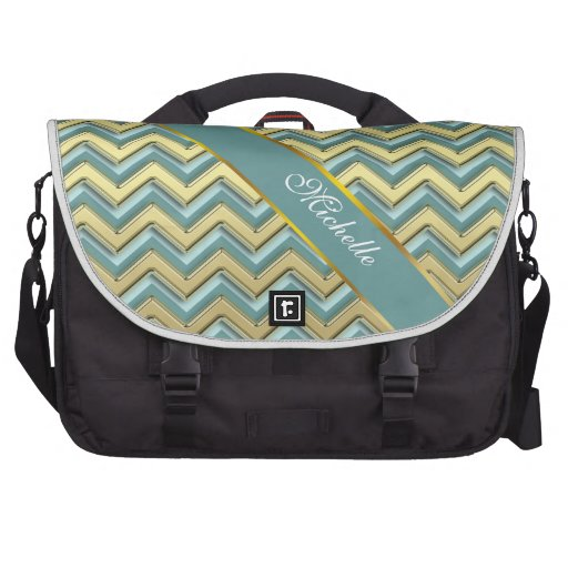Gold and Teal Chevron Pattern Bag For Laptop