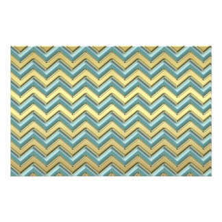 Gold and Teal Chevron Pattern Stationery