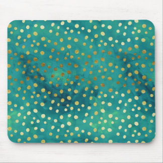 Gold and Teal Dots Modern Glam Watercolor Mousepad
