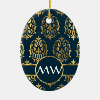 Gold and teal green damask ceramic ornament