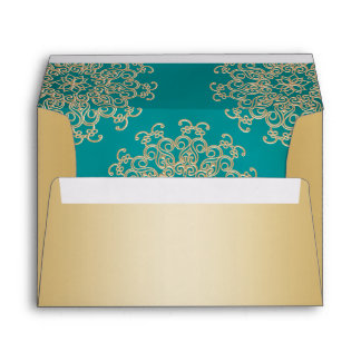 Gold and Teal Indian Style Envelope