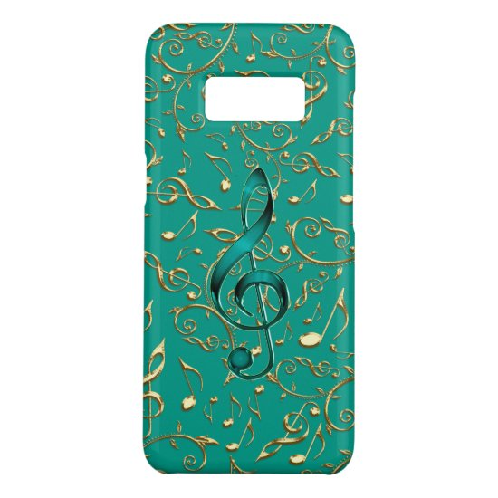 Gold and Teal Music Notes and Clefs Case-Mate Samsung Galaxy S8 Case