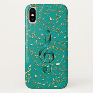 Gold and Teal Music Notes and Clefs iPhone X Case