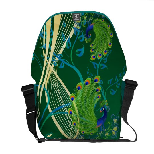 Gold and Teal Peacock Messenger Bag