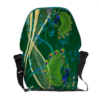 Gold and Teal Peacock Messenger Bags