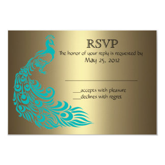 Gold and Teal Peacock RSVP Invitations