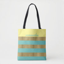Gold and Teal Stripes Tote Bag