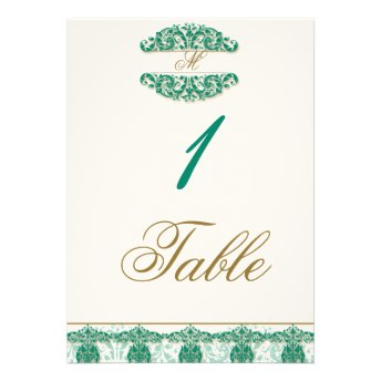 Gold and Teal Vintage Floral Scroll Table Number Custom Invitations