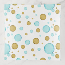 Gold and Teal Watercolor Baubles Trinket Trays