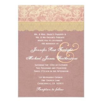 Gold and Terra Cotta Grunge Damask Wedding A001 Card
