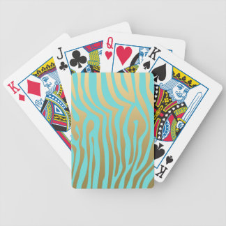 Gold and Tiffany Blue Zebra Stripes Pattern Bicycle Playing Cards