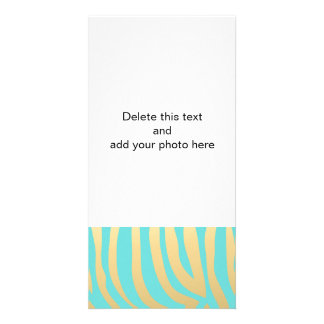 Gold and Tiffany Blue Zebra Stripes Pattern Card
