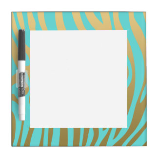 Gold and Tiffany Blue Zebra Stripes Pattern Dry-Erase Board