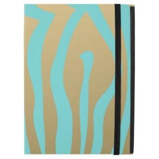 Gold and Tiffany Blue Zebra Stripes Pattern iPad Pro Case