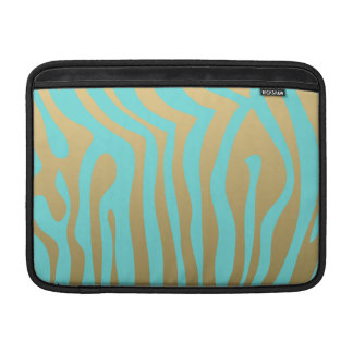 Gold and Tiffany Blue Zebra Stripes Pattern Sleeves For MacBook Air