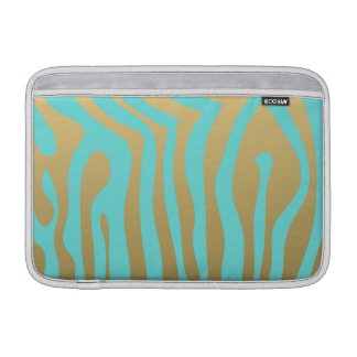Gold and Tiffany Blue Zebra Stripes Pattern MacBook Sleeve