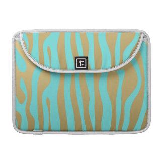 Gold and Tiffany Blue Zebra Stripes Pattern MacBook Pro Sleeve