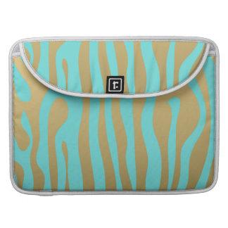 Gold and Tiffany Blue Zebra Stripes Pattern Sleeve For MacBooks