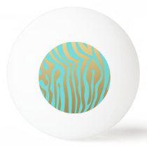 Gold and Tiffany Blue Zebra Stripes Pattern Ping-Pong Ball