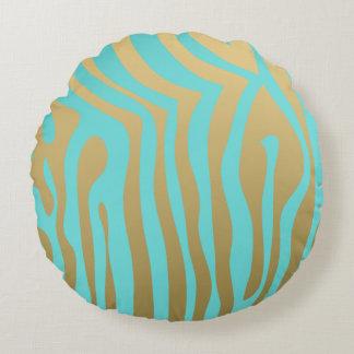 Gold and Tiffany Blue Zebra Stripes Pattern Round Pillow