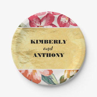 gold and tropical flowers beach wedding paper plate