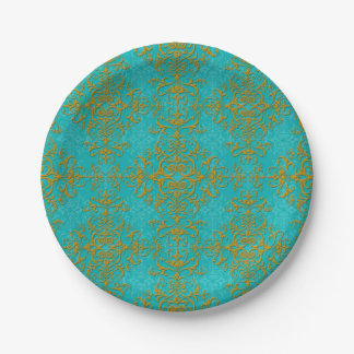 Gold and Turquoise Floral Damask Style Pattern 7 Inch Paper Plate