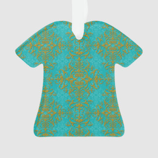 Gold and Turquoise Floral Damask Style Pattern