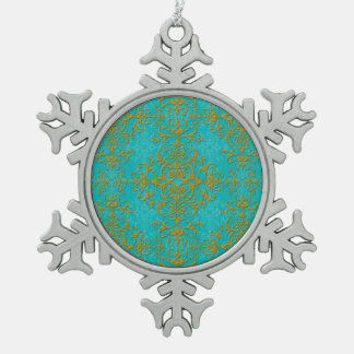 Gold and Turquoise Floral Damask Style Pattern Ornament