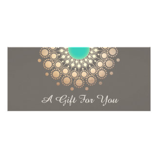 Gold and Turquoise Floral Mandala Gift Certificate Personalized Rack Card