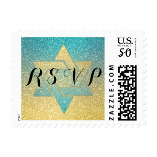 Gold and Turquoise Glitz RSVP Postage