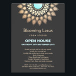 """Gold and Turquoise Lotus Mandala Yoga Flyer<br><div class=""""desc"""">Chic,  sophisticated business card design featuring faux foil lotus mandala. This is not real foil - but an image. There is no shine or texture. For matching marketing material please contact me at maurareed.designs@gmail.com</div>"""