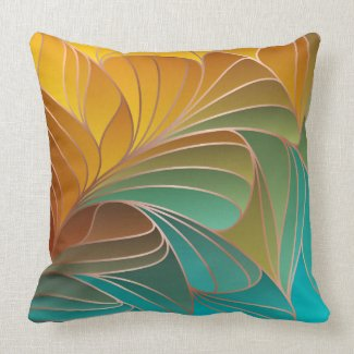 Gold and Turquoise Petals New Art Nouveau Throw Pillow