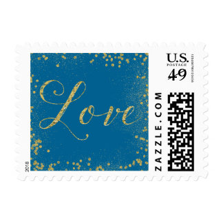 Gold and Turquoise Sparkle Confetti Dots Love Postage
