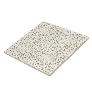 Gold and White Animal Print Tile