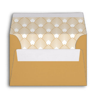 Gold and White Art Deco Pattern Envelope