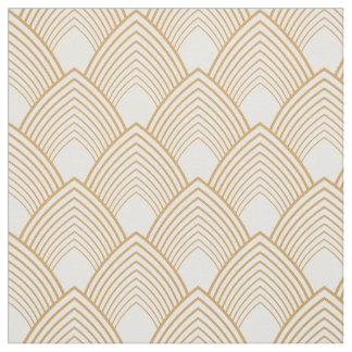 Gold and White Art Deco Pattern Fabric
