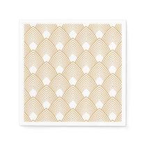 Gold and White Art Deco Pattern Paper Napkin