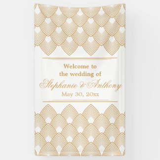 Gold and White Art Deco Pattern Wedding Banner