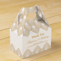 Gold and White Art Deco Pattern Wedding Favor Box