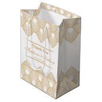 Gold and White Art Deco Pattern Wedding Medium Gift Bag