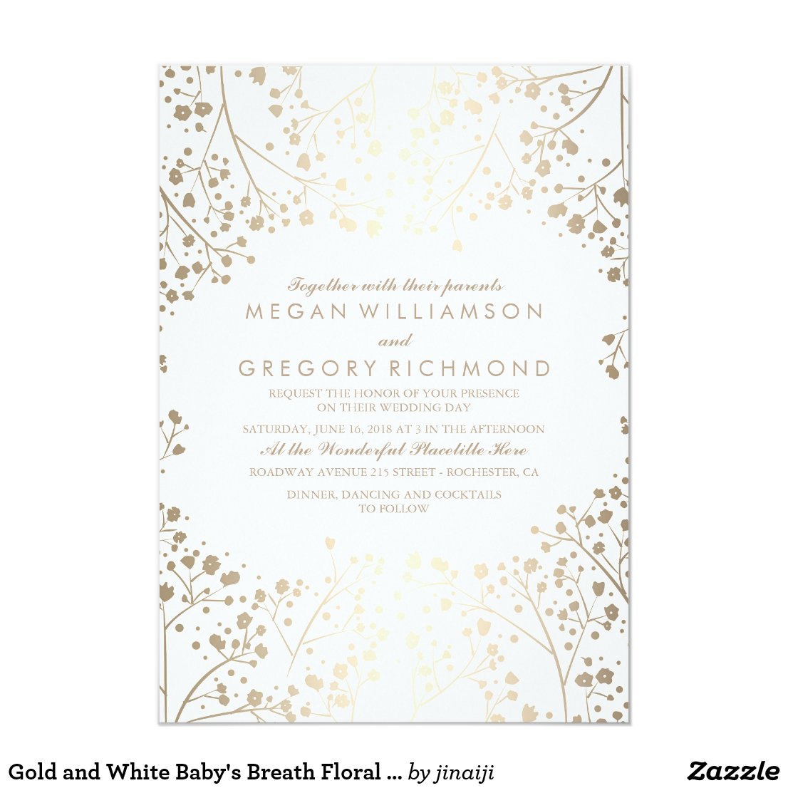 Gold and White Baby's Breath Wedding Invitation