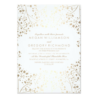gold and white babys breath floral wedding card - White And Gold Wedding Invitations