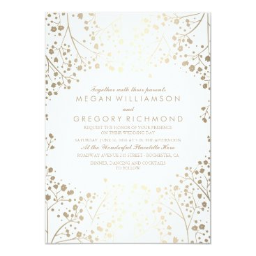 Toddler & Baby themed Gold and White Baby's Breath Floral Wedding Card