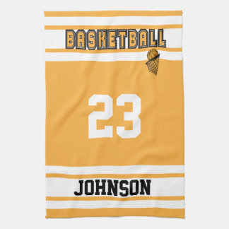 Gold and White Basketball Kitchen Towels