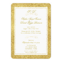 Gold and White Border Wedding Evening Reception Card