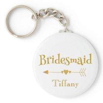 Gold and White Bridesmaid wedding gift Keychain