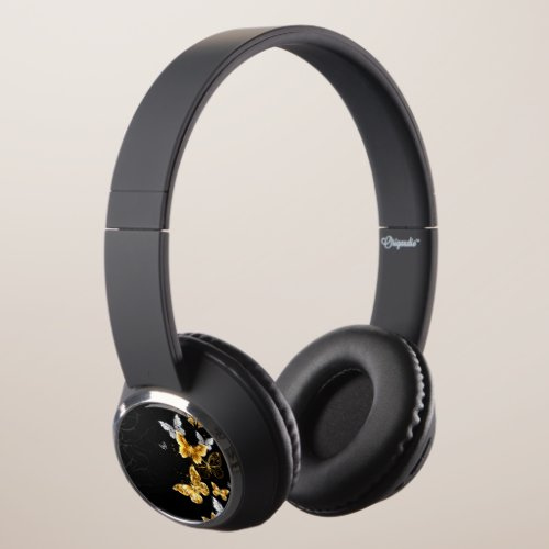 Gold and white butterflies headphones